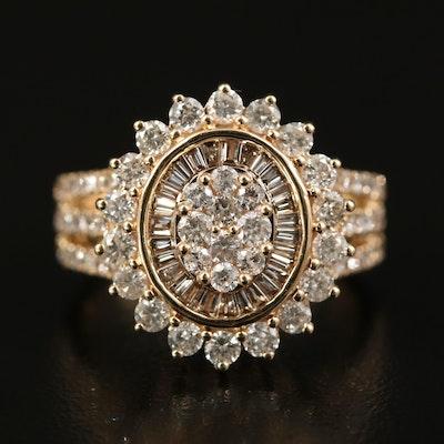 14K 1.83 CTW Diamond Halo Ring with Split Shank