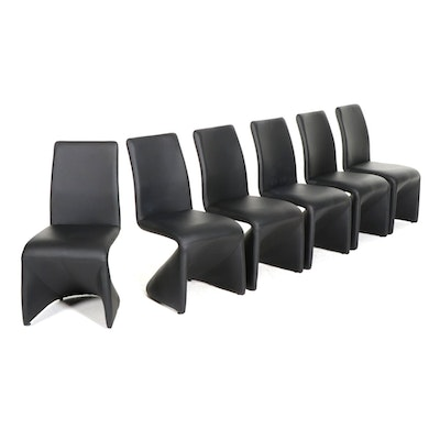 Six Contemporary Regis Panton-Style Leather Upholstered Cantilever Dining Chairs