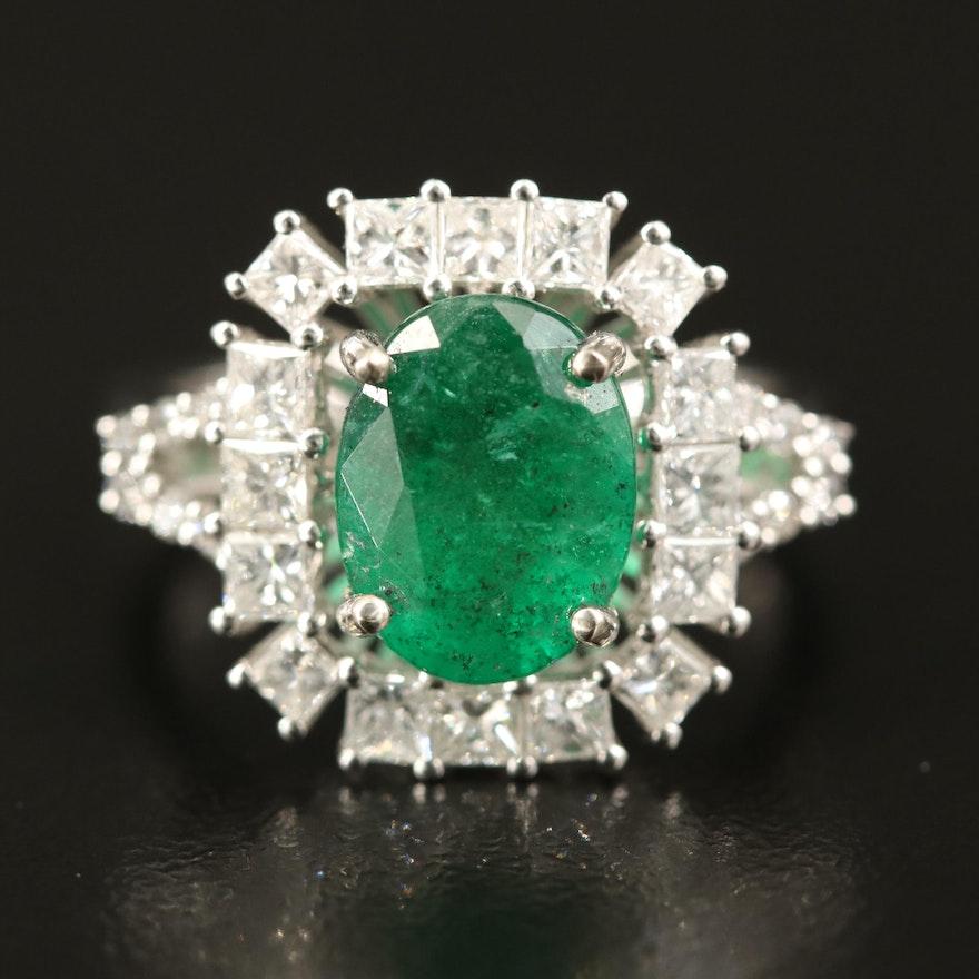 14K 2.62 CT Emerald and 1.47 CTW Diamond Ring