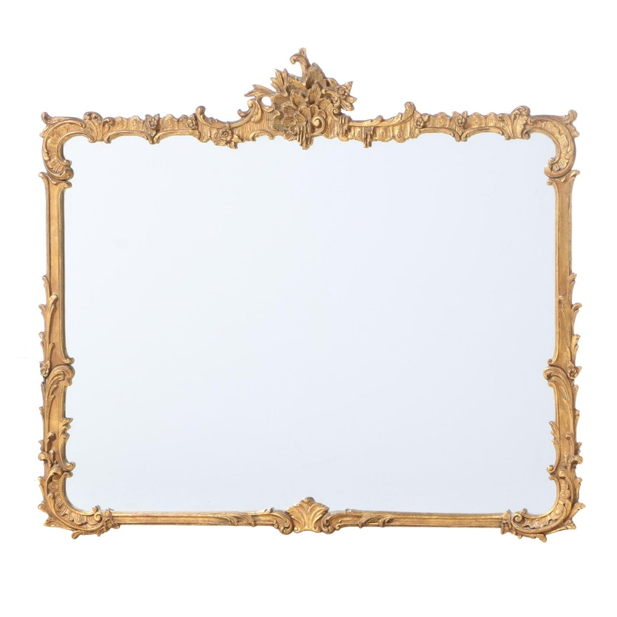 Rococo Style Giltwood and Composition Overmantel Mirror, Early 20th Century
