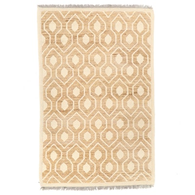 5'1 x 8'3 Hand-Knotted Geometric Jute and Wool Area Rug