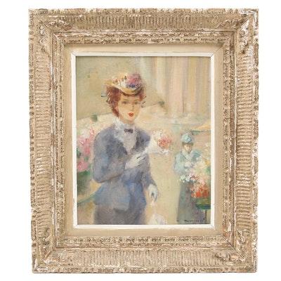 M. Reverberi Oil Painting of Woman at Flower Market