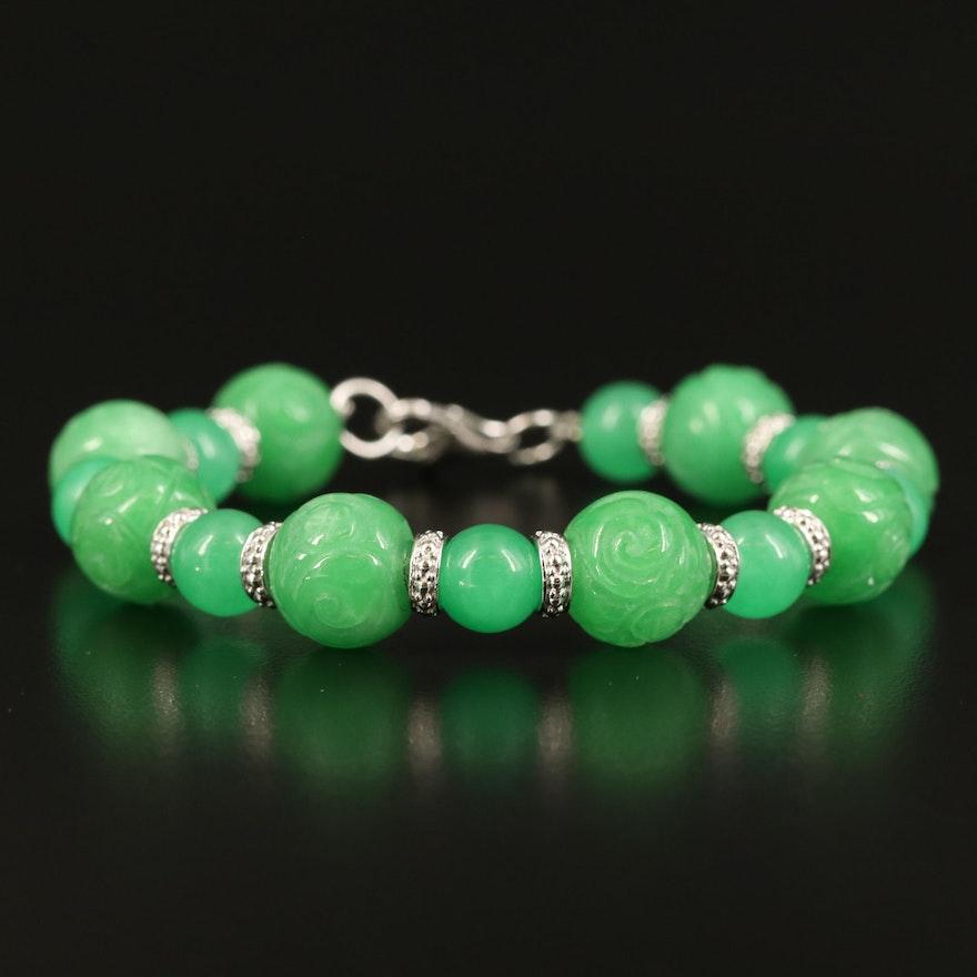 Sterling Carved Jadeite Bracelet