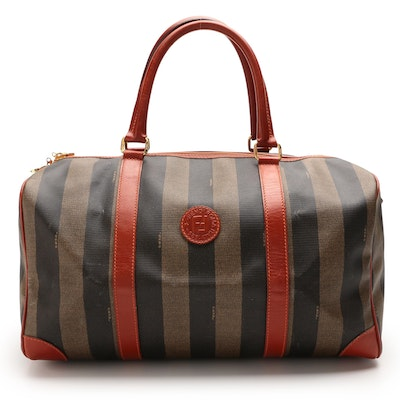 Fendi Travel Bag in Pequin Striped Coated Canvas with Leather Trims