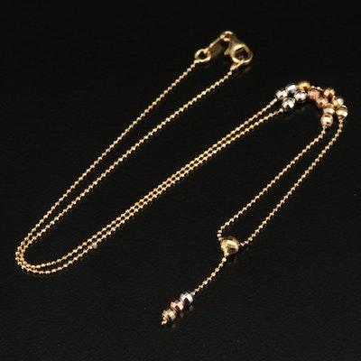 Italian Tri-Color 14K Beaded Y Necklace