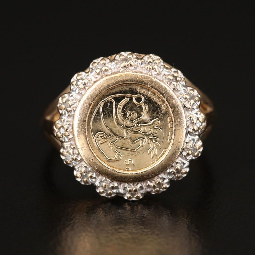 10K Diamond Coin Ring with Reproduction China 1/20th Oz. Gold Panda