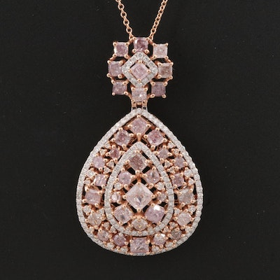 18K Rose Gold 4.77 CTW Diamond Cluster Pendant Necklace with GIA Report