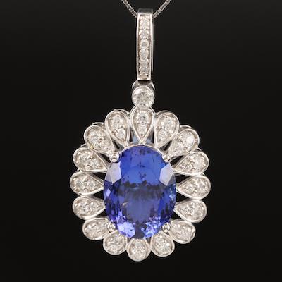 14K 9.04 CT Tanzanite and Diamond Pendant Necklace with Scalloped Edge