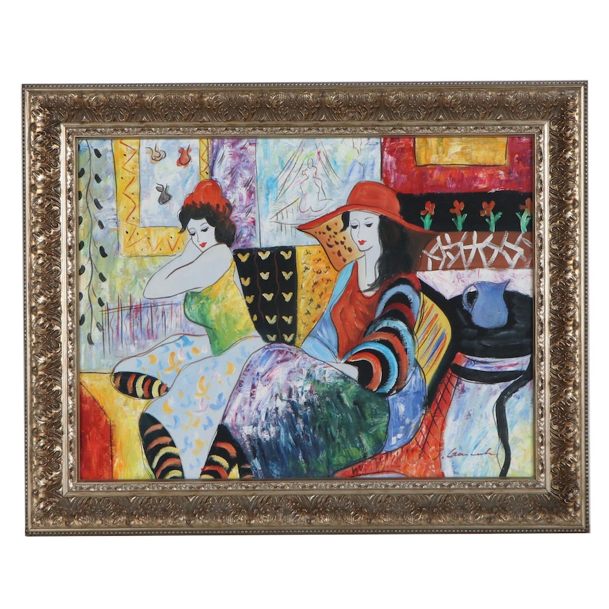 Abstract Figural Acrylic Painting, Late 20th Century