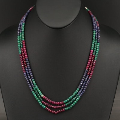 Triple Strand Faceted Corundum Necklace with Sterling Granulation Clasp