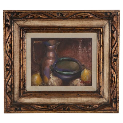 Still Life Oil Painting of Lemons and Dishes, Late 20th Century