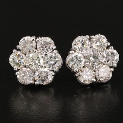 14K 3.45 CTW Diamond Hexagonal Cluster Earrings