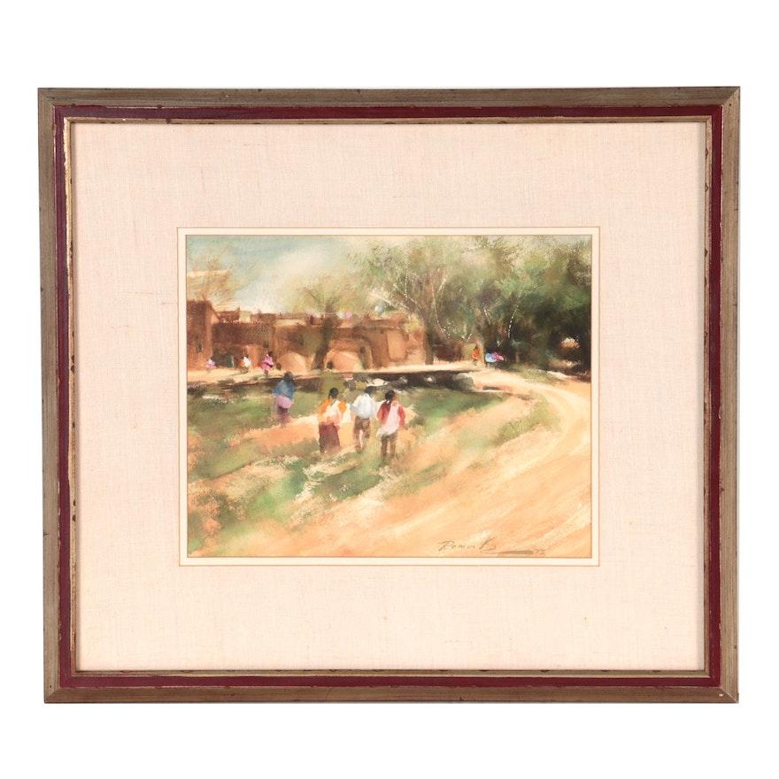 """Ramon Kelley Watercolor Painting """"Los Indios de Taos,"""" 1973"""