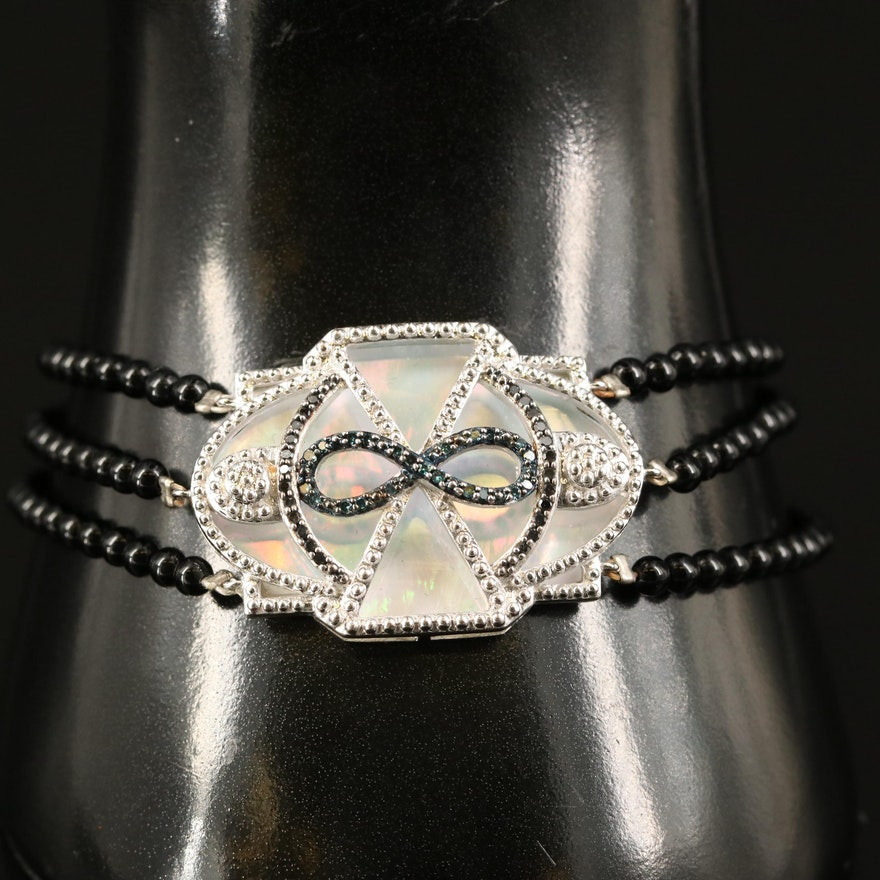 Sterling Infinity Bracelet with Mother of Pearl, Spinel and Diamond