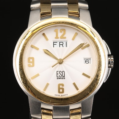 Two Tone ESQ Day, Date Stainless Steel Wristwatch