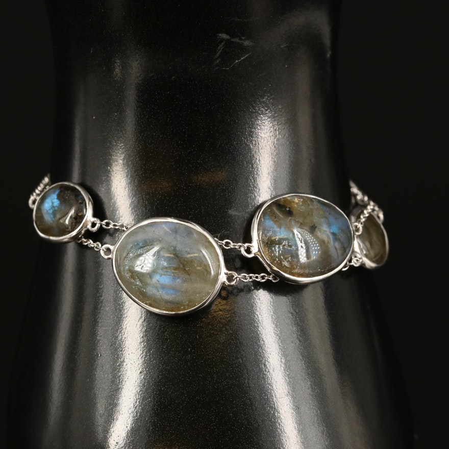 Sterling Labradorite Double Strand Station Bracelet