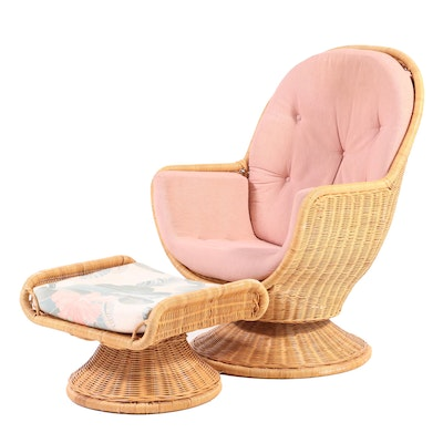 Wicker Swivel Armchair and Ottoman, Late 20th Century