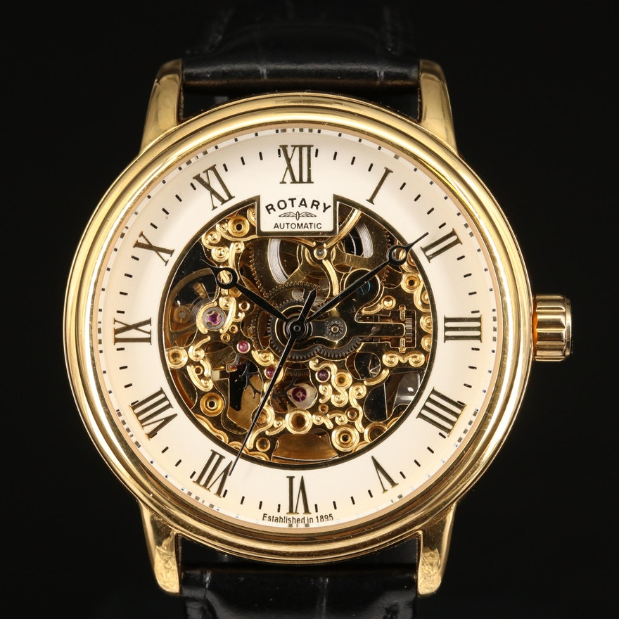 Rotary Automatic Skeleton Stainless Steel Wristwatch