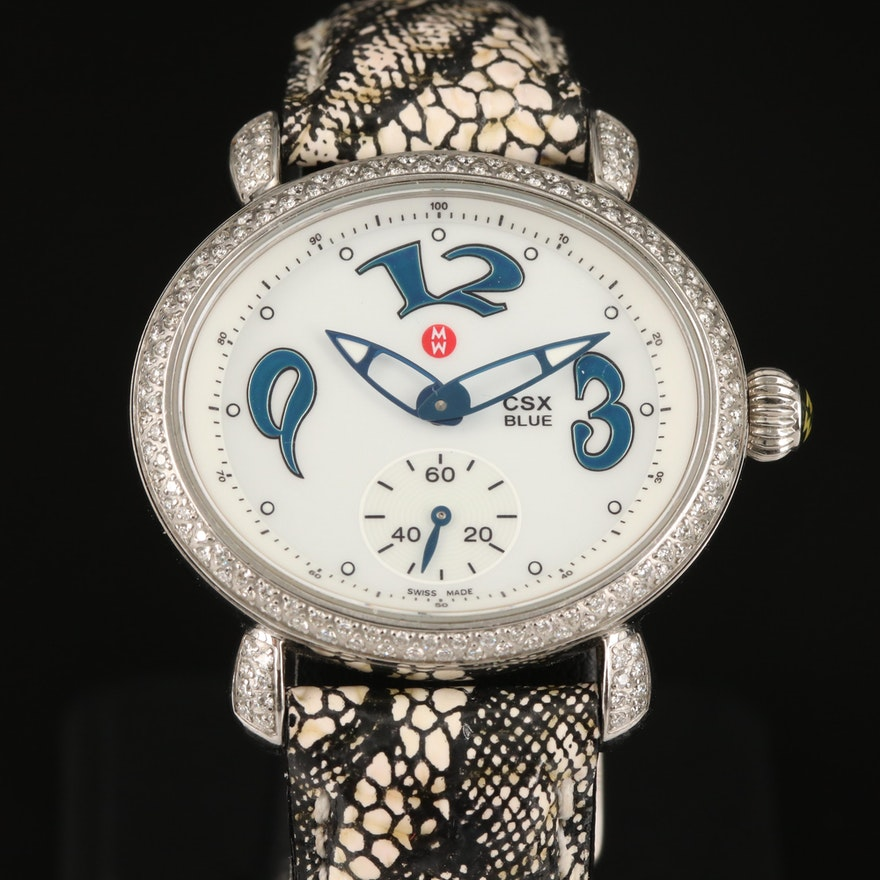 Michele CSX Blue Diamond Stainless Steel Quartz Wristwatch