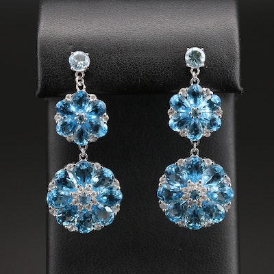 Sterling Topaz and Zircon Floral Earrings