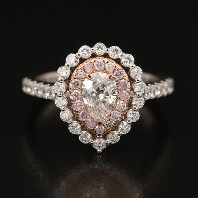 18K 1.36 CTW Diamond Double Halo Ring with GIA Diamond Dossier