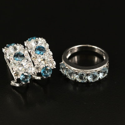 Sterling Aquamarine and Topaz Ring and J Hoop Earring Set