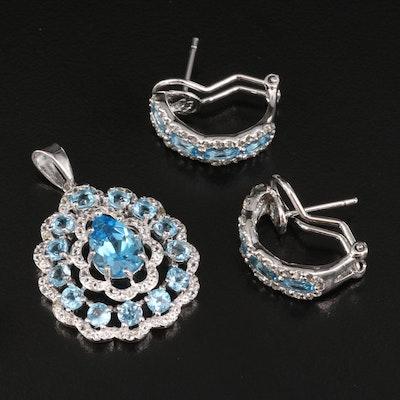 Sterling Silver Topaz Half Hoop Earrings and Pendant