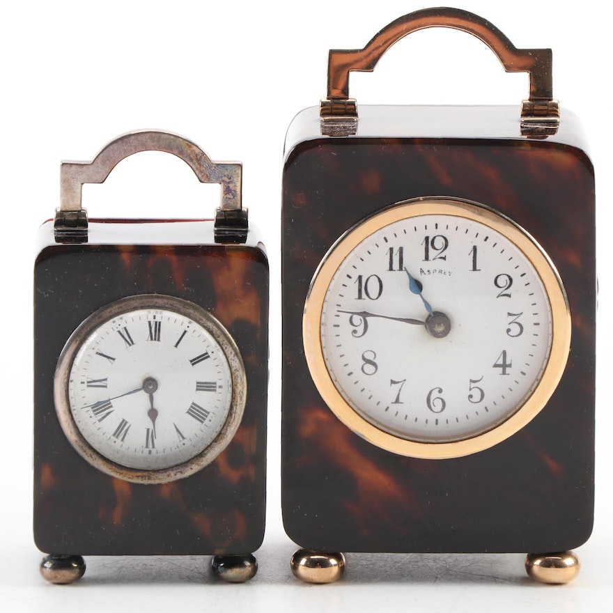 Asprey and English Sterling Faux Tortoise Shell Miniature Carriage Clocks, 1900s