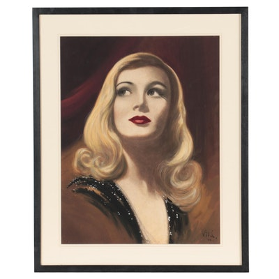 Emilio Vilá Gouache and Charcoal Painting of Veronica Lake, 1955