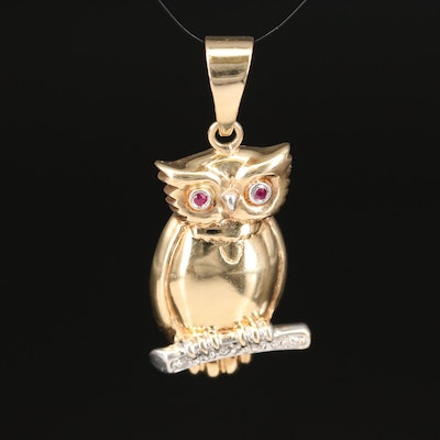 14K Ruby and Diamond Perched Owl Pendant