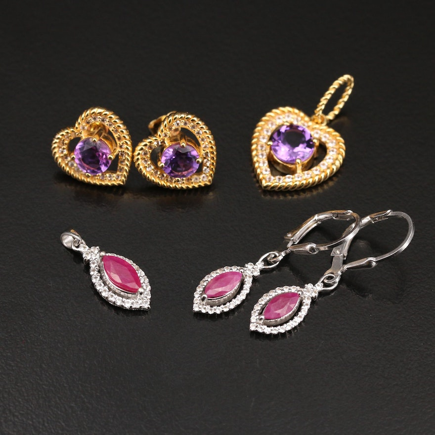 Sterling Gemstone Navette and Heart Pendant and Earring Sets