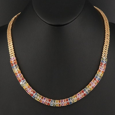 Sterling Silver Sapphire and Topaz Necklace