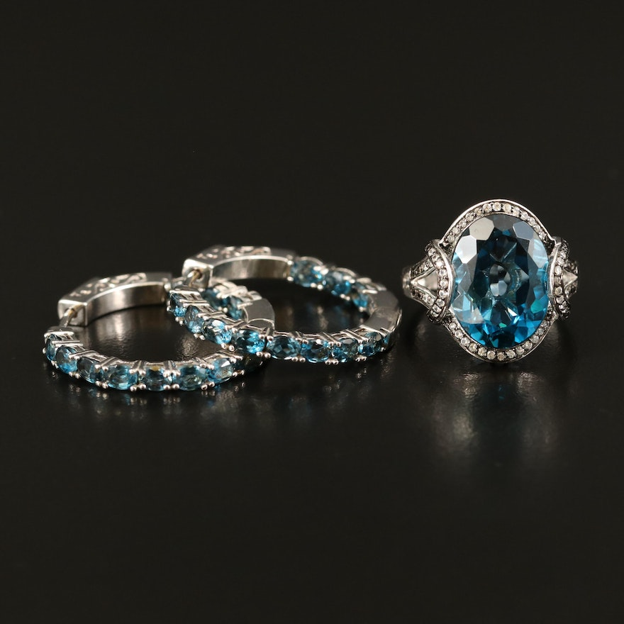 Sterling London Blue Topaz and Zircon Inside-Out Hoop Earrings and Cocktail Ring