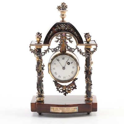 French Neoclassical Style Tortoise Shell and Gemstone Inlay Desk Clock