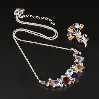 Sterling Silver Necklace and Brooch Featuring Garnet, Topaz and Citrine