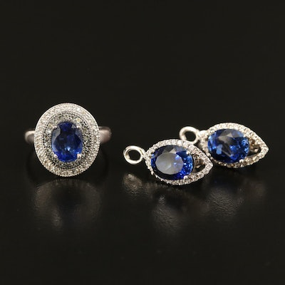Sterling Kyanite and Zircon Navette Earrings and Double Halo Ring