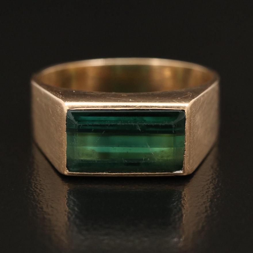 Vintage 18K Tourmaline Signet Ring