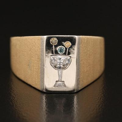 18K Diamond Martini Glass Motif Ring
