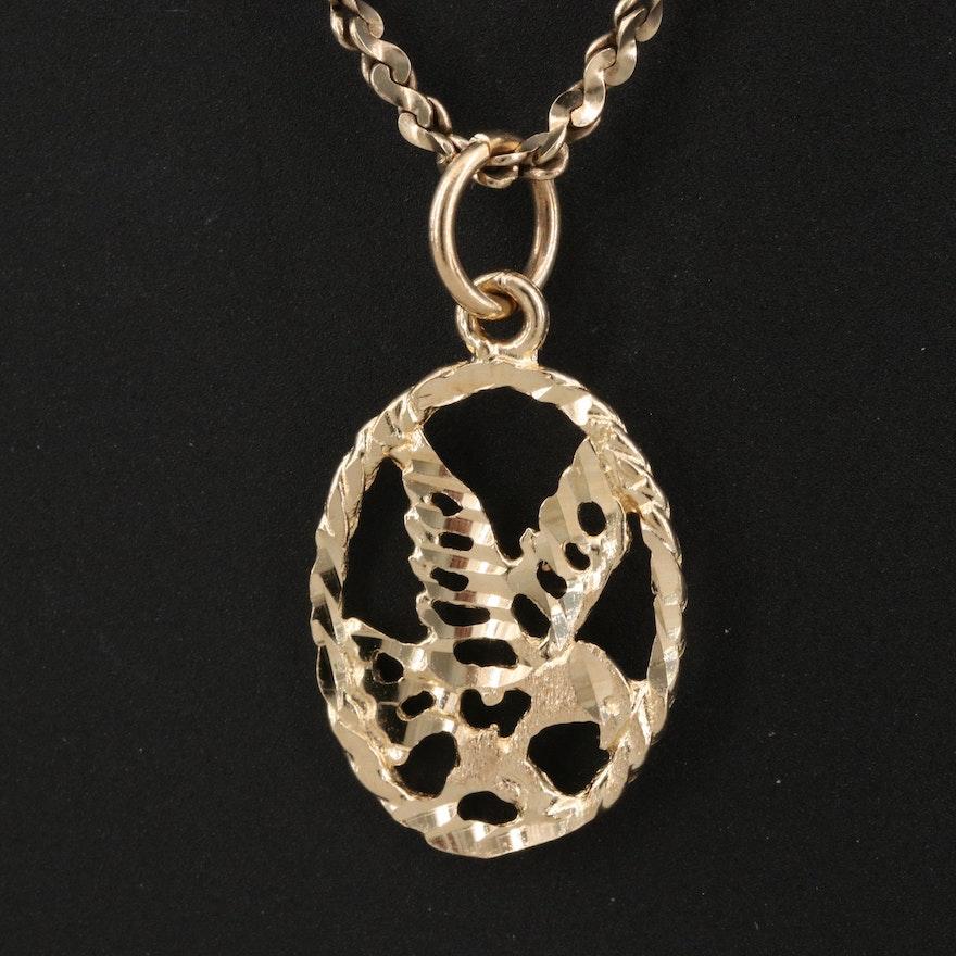 10K Eagle Pendant Necklace