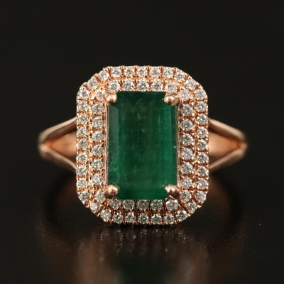 14K Rose Gold 2.58 CT Emerald and Diamond Double Halo Ring