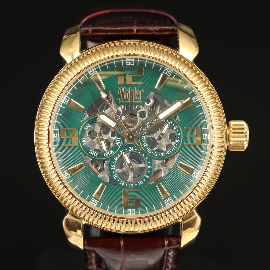 Wohler Skeleton Stainless Steel Wristwatch