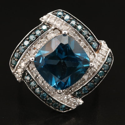 Sterling Topaz and Diamond Ring
