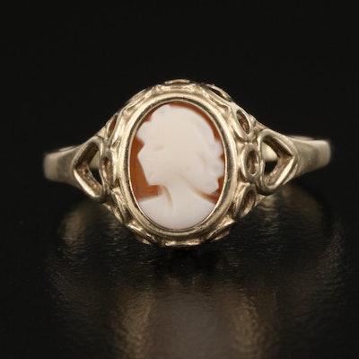 Vintage 9K Shell Cameo Ring