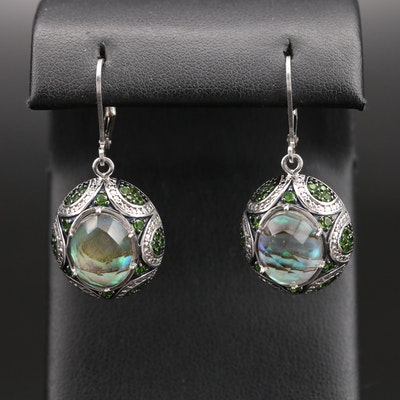 Sterling Quartz, Abalone Doublet and Diopside Earrings