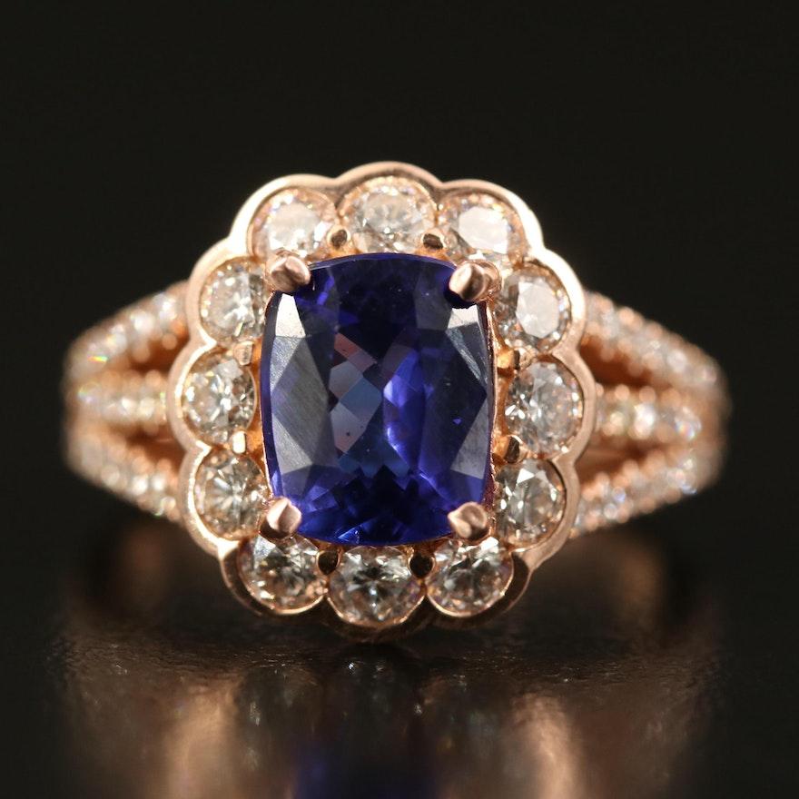 14K Tanzanite and 1.38 CTW Diamond Ring