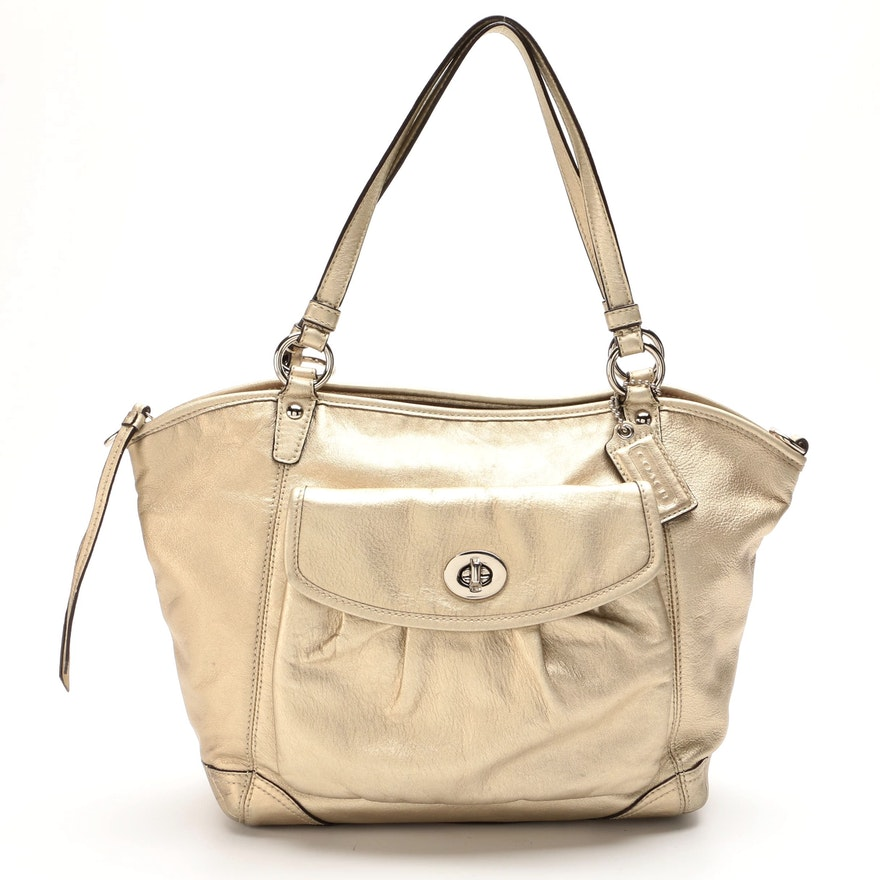 Coach Leah Metallic Leather Two-Way Shoulder Bag