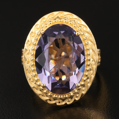 Sterling Silver Faceted Purple Glass Statement Ring