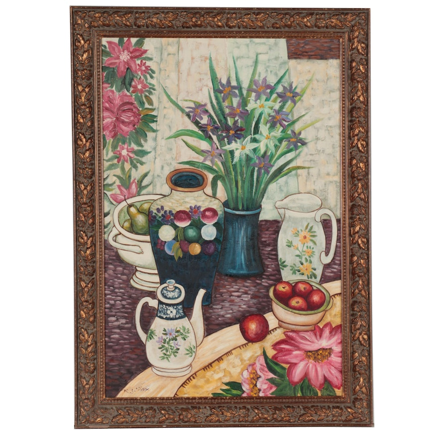 R. Wilcox Still Life Oil Painting of Flowers and Ceramics, circa 2000