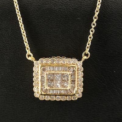 14K 1.24 CTW Diamond Scallop Pendant Necklace