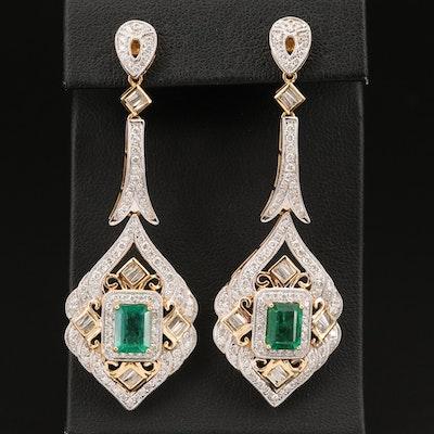 18K 3.24 CTW Emerald and 2.57 CTW Diamond Earrings
